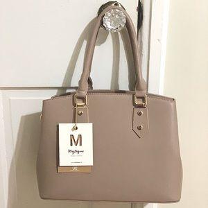 Miztique designer collection taupe handbag NWT